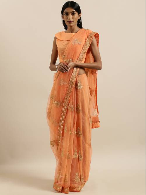 Shavya Peach Net Embroidered Saree With Blouse Piece