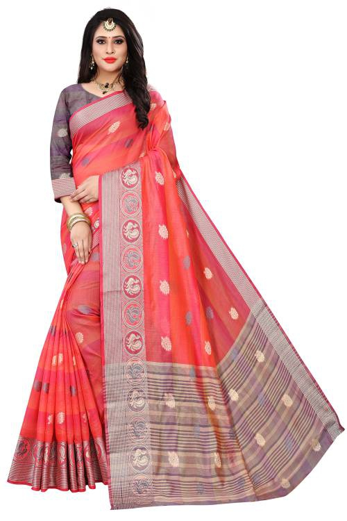 Pink Cotton Woven Saree With Blouse Piece