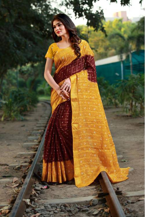 Maroon Mysore Silk Printed Bandhani Saree With Blouse Piece