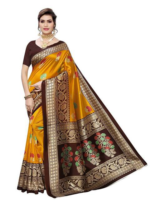 Yellow Art Silk Printed Saree With Blouse Piece