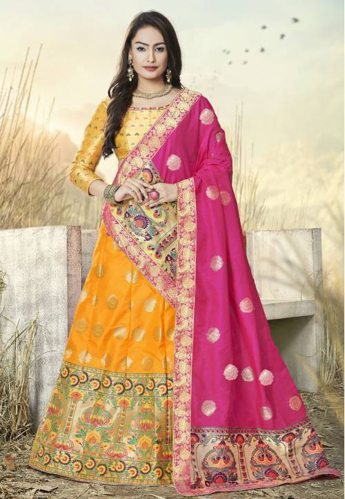 Yellow Banarasi Silk Jacquard Semi-stitched Lehenga Choli