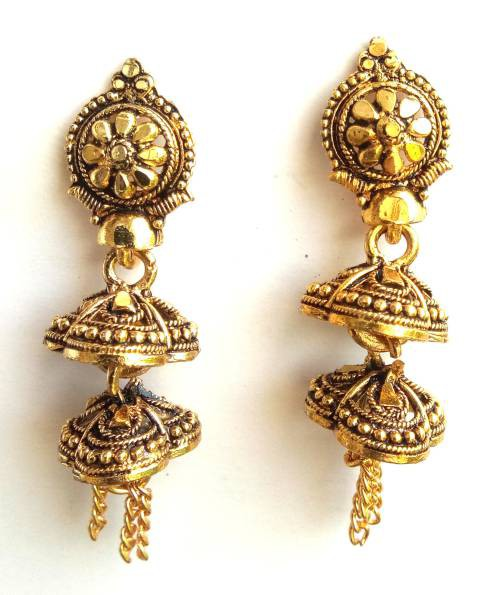 Antique Gold Plated Oxidized Finish Alloy Metal Office Wear Drop Earrings