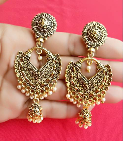Antique Gold Plated Oxidized Finished Alloy Metal Ethnic Party Wear Dangler Earrings