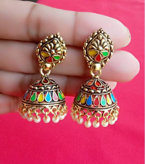 Gold Plated Oxidized Finish Alloy Metal Meenakeri Design Jhumka Earrings