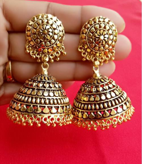 Gold Plated Oxidized Finish Alloy Metal Party Wear  Jhumka Earrings