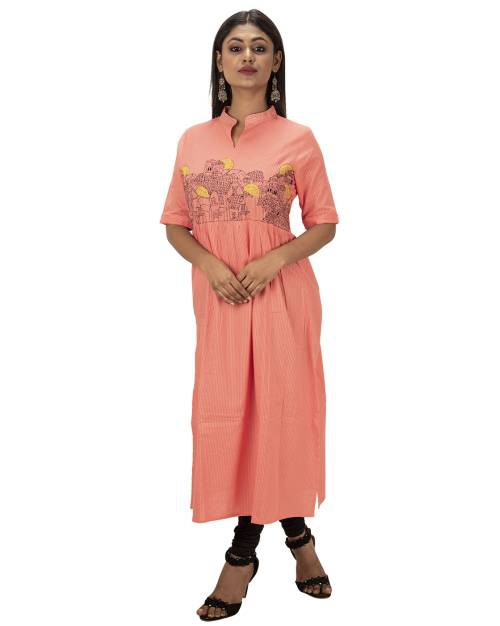 Pink Cotton Embroidered Straight Kurti