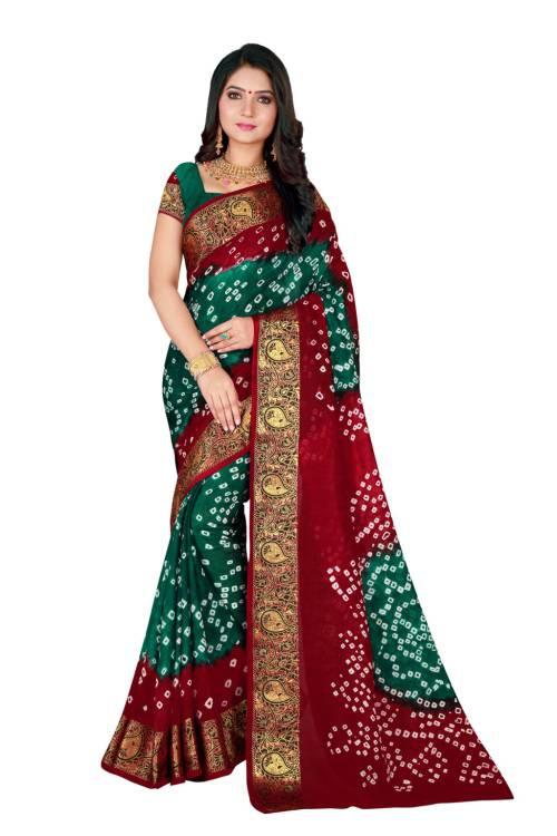 Green And Maroon Art Silk Printed Bandhani Traditional Saree With Blouse Piece
