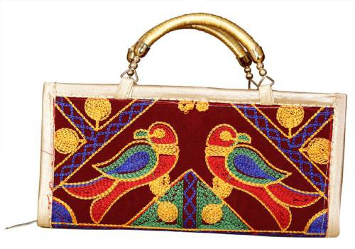 Maroon Velvet Hand Embroidered Clutch With Sling Belt
