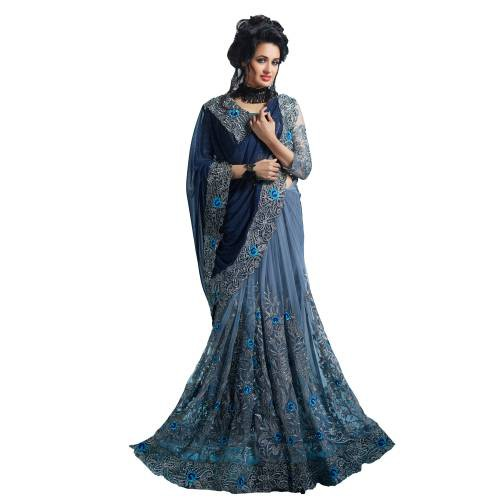 Blue Georgette Embroidered Designer Saree With Unstitched Blouse Piece