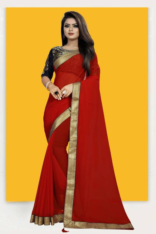 Red Chiffon Lace Work Designer Saree With Blouse Piece