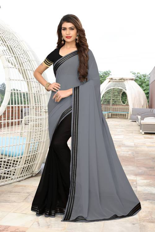 Grey Georgette Lace Work Designer Saree With Blouse Piece
