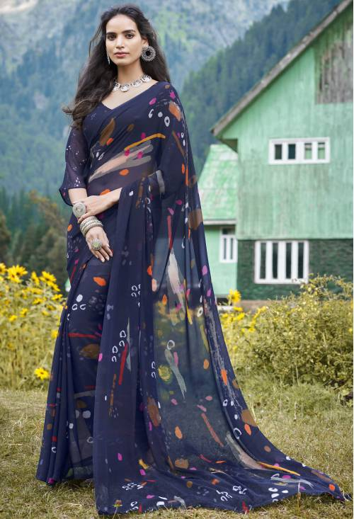 Roop Kashish Blue Georgette Printed Saree With Blouse Piece