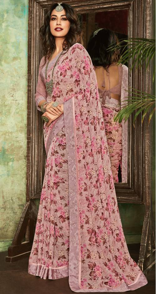 Peach Georgette Printed Partywear Saree With Unstitched Blouse Piece