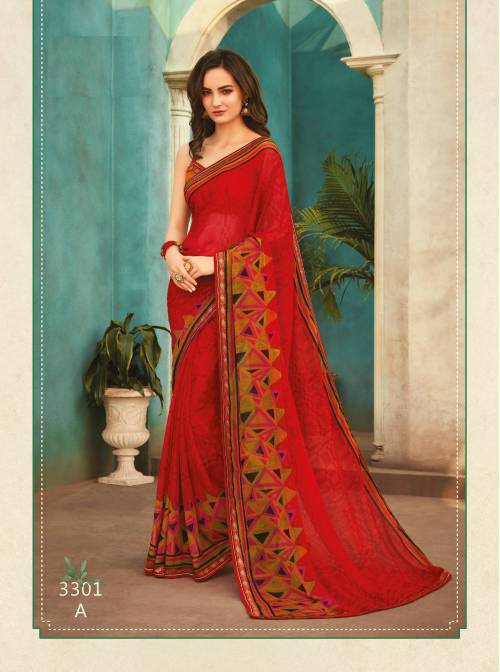 Red Chiffon Printed Saree With Blouse Piece