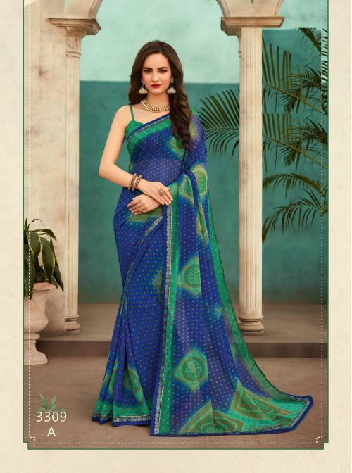 Blue Chiffon Printed Saree With Blouse Piece