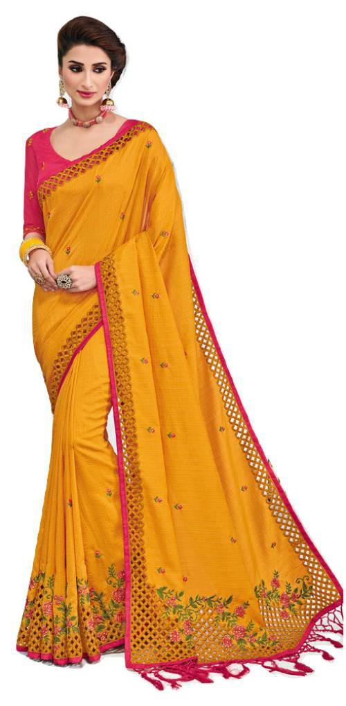 Roop Kashish Yellow Silk Embroidered Saree With Blouse Piece