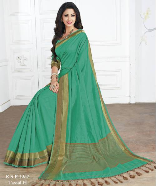 Roop Kashish Green Tussar Silk Woven Saree With Blouse Piece