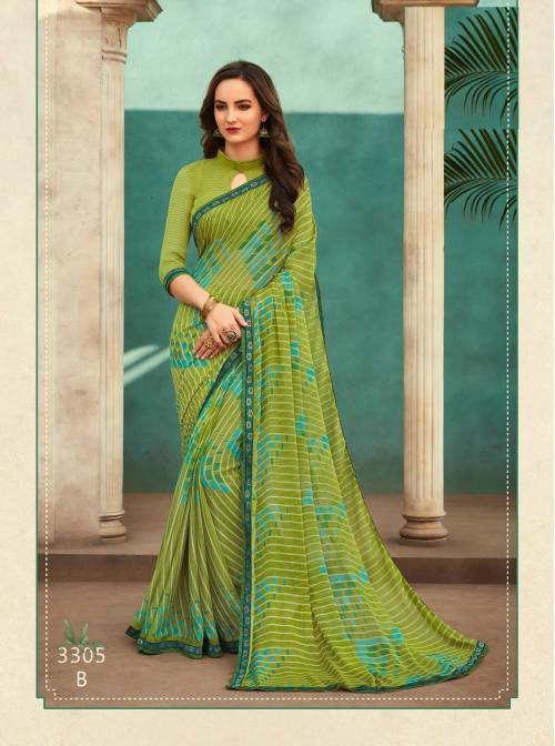 Green Chiffon Printed Saree With Blouse Piece