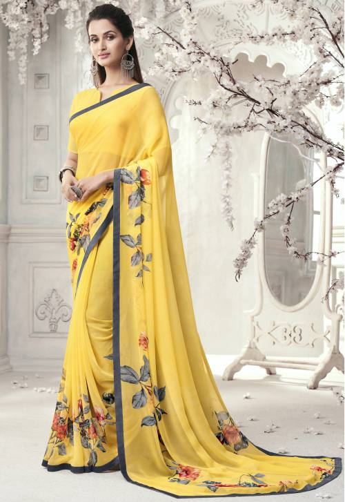 Yellow Georgette Designer Solid Saree With Blouse Piece