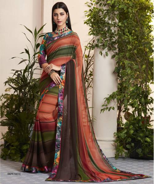 Multicolor Georgette Diamond Work And Digital Printed Saree With Blouse Piece
