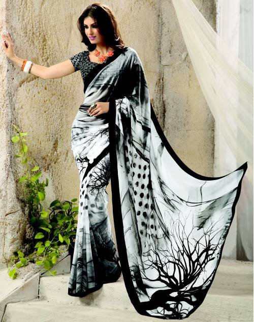 White Georgette Printed Saree With Blouse Piece