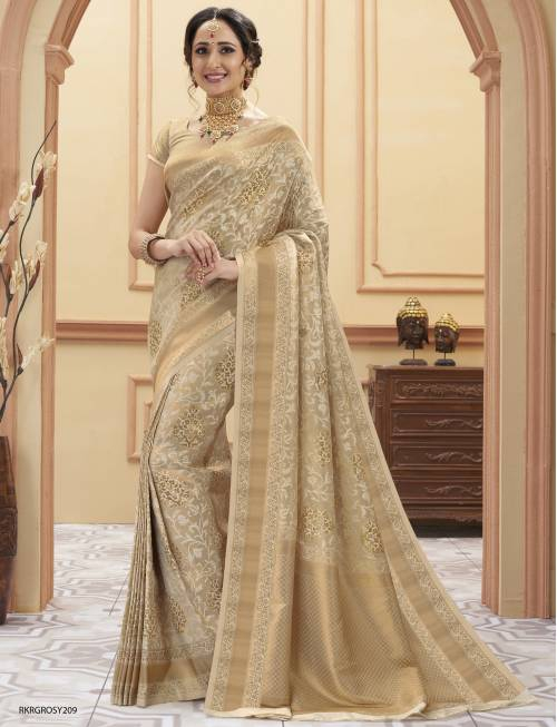 Beige Silk Woven Saree With Blouse Piece
