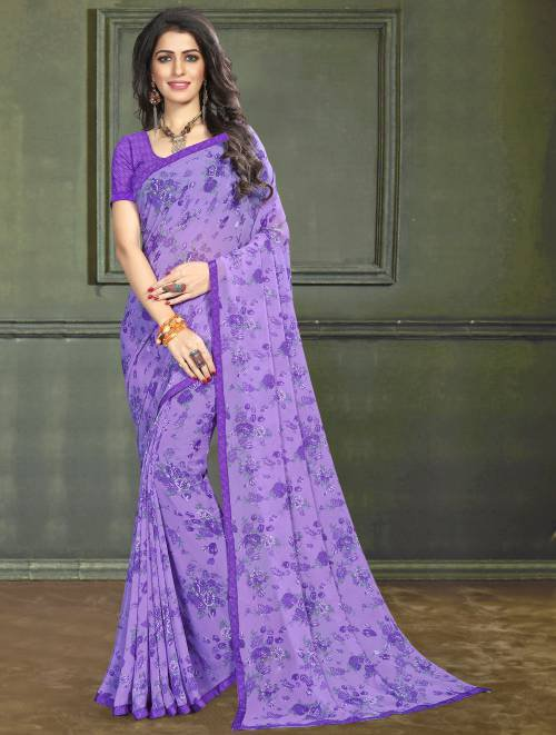 Roop Kashish Purple Georgette Floral Printed Saree With Blouse Piece