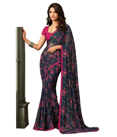 Navy Georgette Floral Print Partywear Saree With Unstitched Blouse Piece