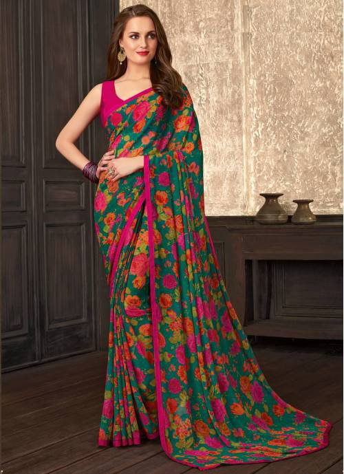Green Georgette Floral Printed Saree With Blouse Piece