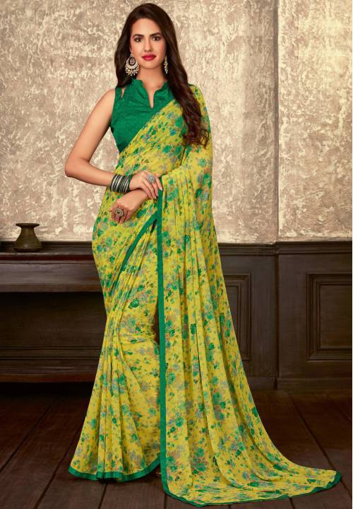 Yellow Georgette Floral Printed Saree With Blouse Piece