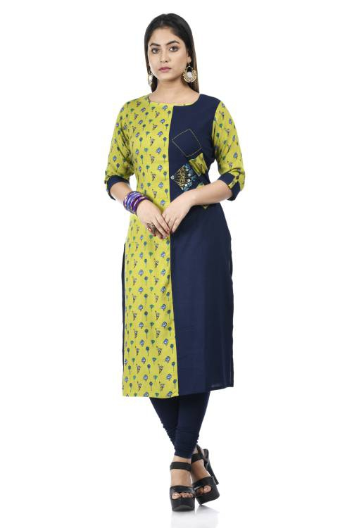 Green And Navy Cotton Embroidered A Line Style Kurti