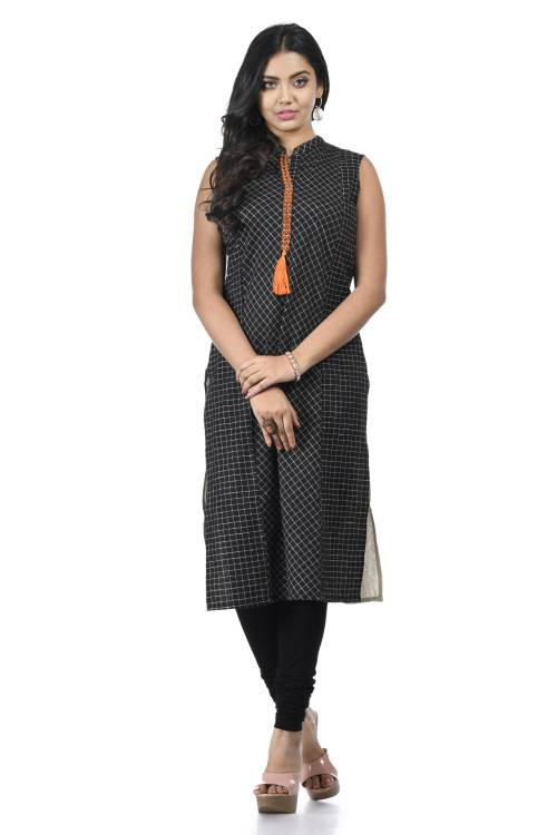 Black Cotton Embroidered A Line Style Kurti