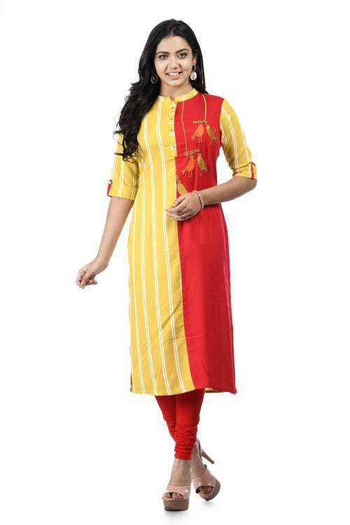 Yellow And Red Rayon Embroidered A Line Style Kurti