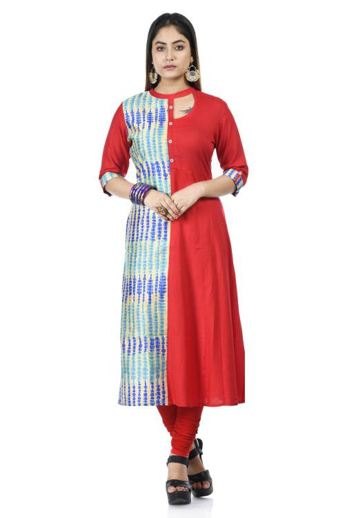 Red Rayon Embroidered A Line Style Kurti