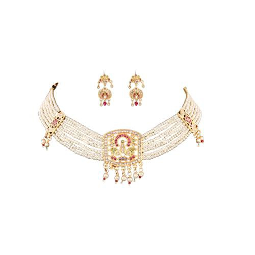Andaaz Off White Gold-plated Jadau Choker Necklace Set With Earrings For Women