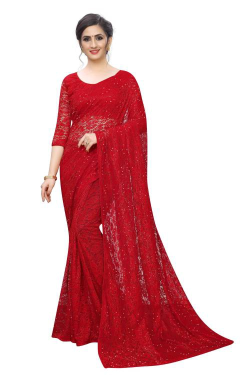 Red Raschel Net Stone Embellished Saree With Blouse Piece