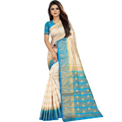 White Kanjivaram Silk Woven Saree With Blouse Piece