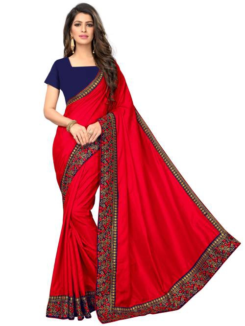 Red Silk Blend Lace Work Saree With Blouse Piece