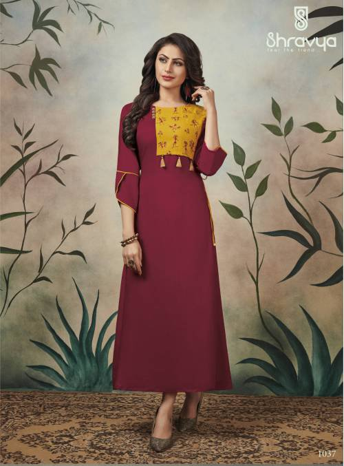 Maroon Cotton Blend Embroidered Ankle Length Kurti