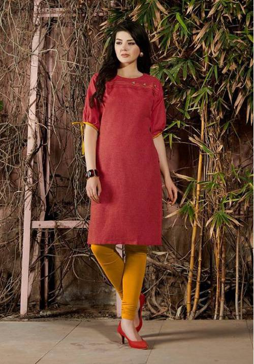 Red Cotton Embroidered Knee Length Kurti