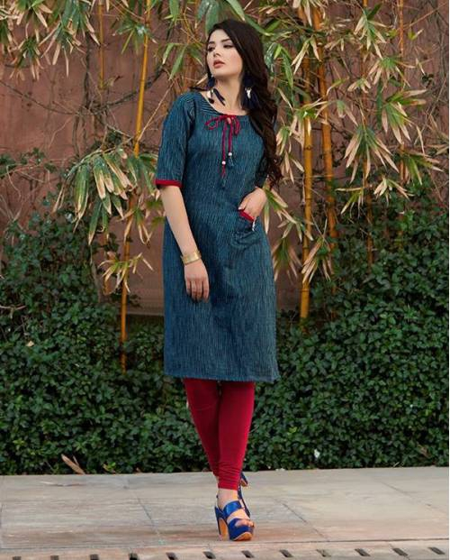 Blue Cotton Embroidered Knee Length Kurti