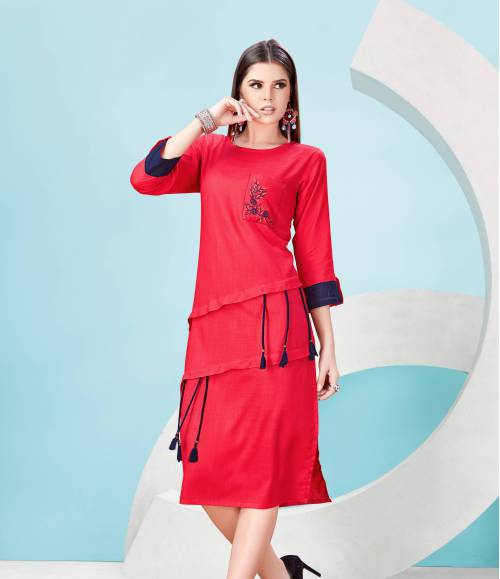 Red Cotton Blend Embroidered Calf Length Kurti