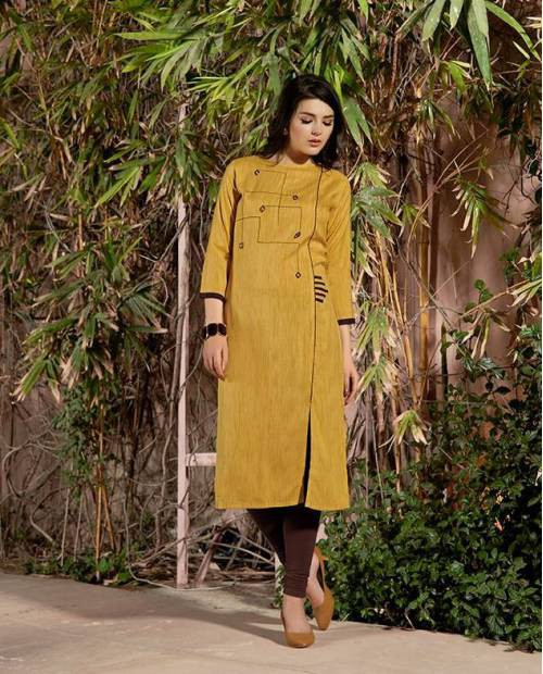 Mustard Cotton Embroidered Knee Length Kurti