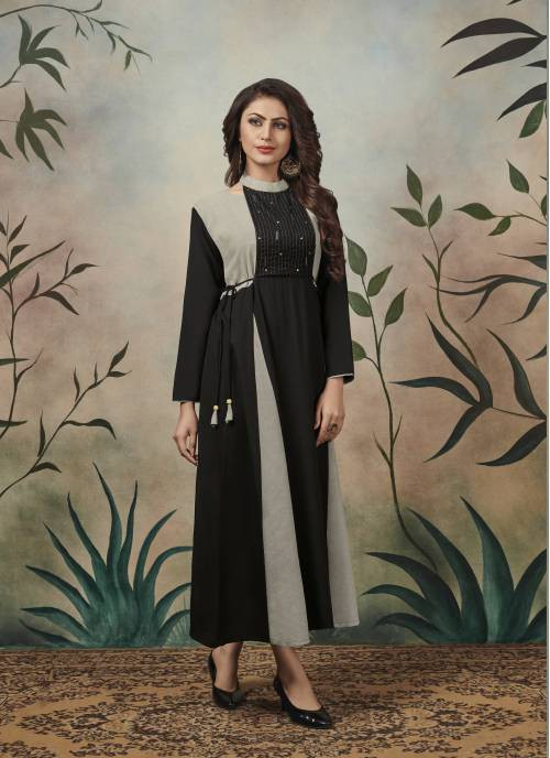 Black Cotton Blend Embroidered Ankle Length Kurti