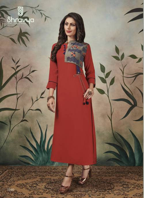 Red Cotton Blend Embroidered Ankle Length Kurti