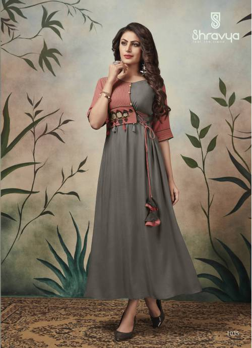 Grey Cotton Blend Embroidered Ankle Length Kurti