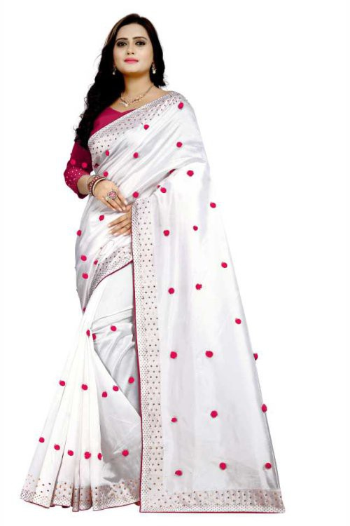 White Silk Hotfix Work Sarees With Pompom  And Blouse Piece