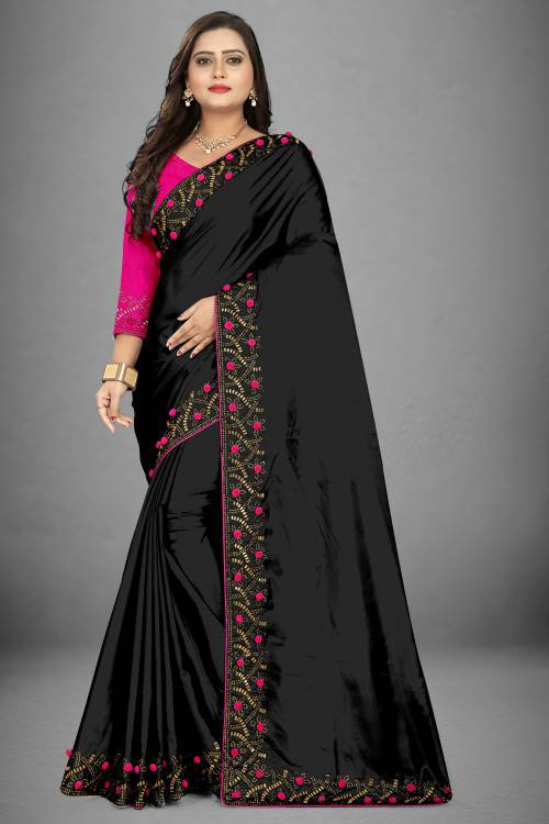 Black Silk Blend Stone Embellished Saree With Blouse Piece
