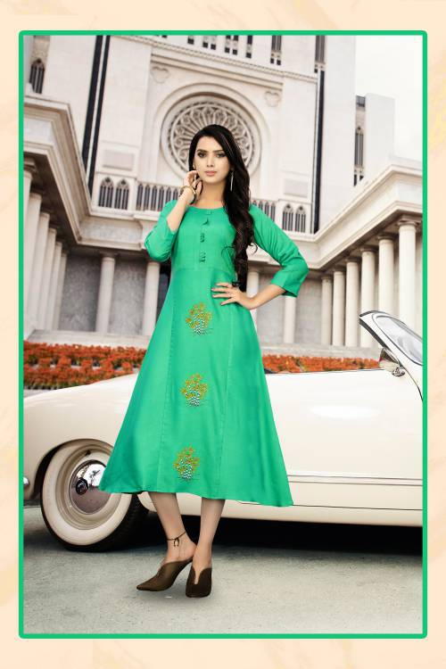 Turquoise Rayon Embroidered Work Flared Kurti Dress