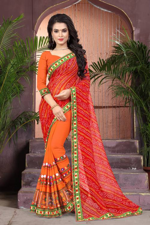 Red Georgette Kutch Embroidered Bandhej Saree With Blouse Piece